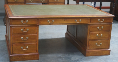 Antique Large Mahogany Partners Desk - Antiquedesks.net