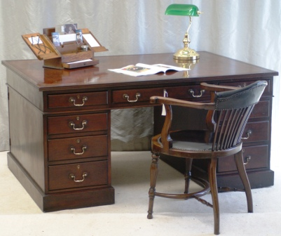 Antique Victorian Mahogany Partners Desk - Sourced and Sold by Antiquedesks.net