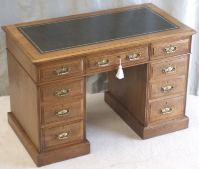 Antique Oak Pedestal Desk by Maple & Co