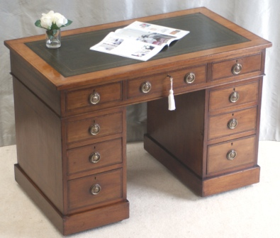 Small Antique Edwardian Pedestal Desk Sourced and Sold by Antiquedesks.net