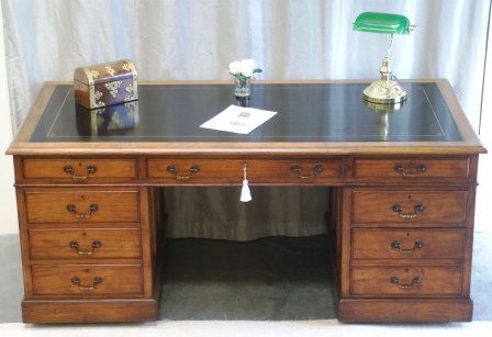 Large Antique Mahogany Pedestal Desk