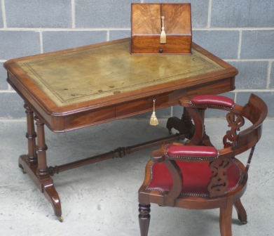 Antique Mahogany Library Table by Charles Hindley