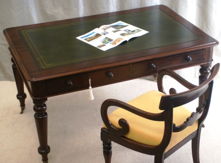 Antique Mahogany Four Drawer Library Table