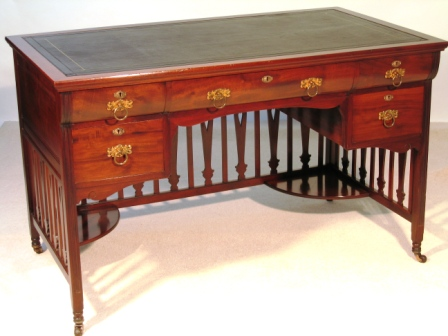 Antique Mahogany Writing Desk by Shapland & Petter