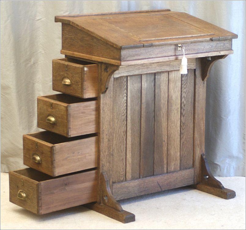 4034 Antique Oak Clerks Desk, Lectern, Reception Desk ...