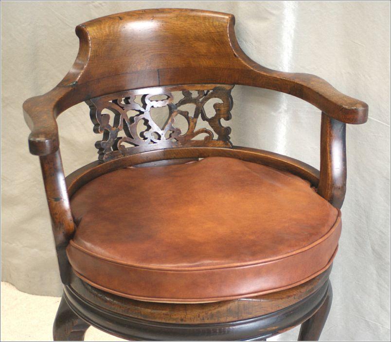9062 Antique Victorian Oak Swivel Desk Chair 6