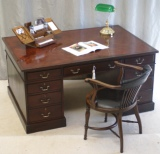 Antique Mahogany Partners Desk and Matching Chair