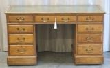 Click for full details - Oak Pedestal Desk by Shoolbred - for restoration