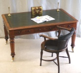 Superb Antique Six Drawer Mahogany Library Table