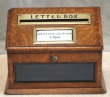 Antique Desk Accessories -  Antique Oak and Brass Country House Letter Box
