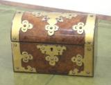 Antique Desk Accessories -  Antique Walnut and Brass Stationery Box